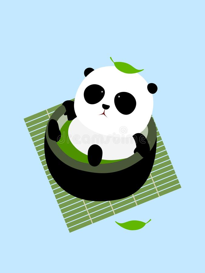 Vector Illustration: A cute cartoon giant panda lying in a cup of Japanese green tea / matcha on a mat. Enjoying taking a bath in thermal spring / hot spring vector illustration