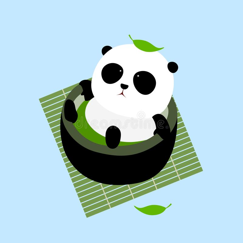 Vector Illustration: A cute cartoon giant panda lying in a cup of Japanese green tea / matcha on a mat. Enjoying taking a bath in thermal spring / hot spring stock illustration