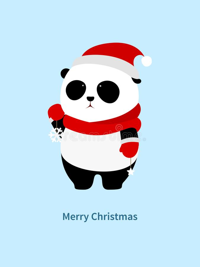 Vector Illustration: A cute cartoon giant panda with red scarf, red christmas hat and red gloves holding snowflake and star decora stock illustration