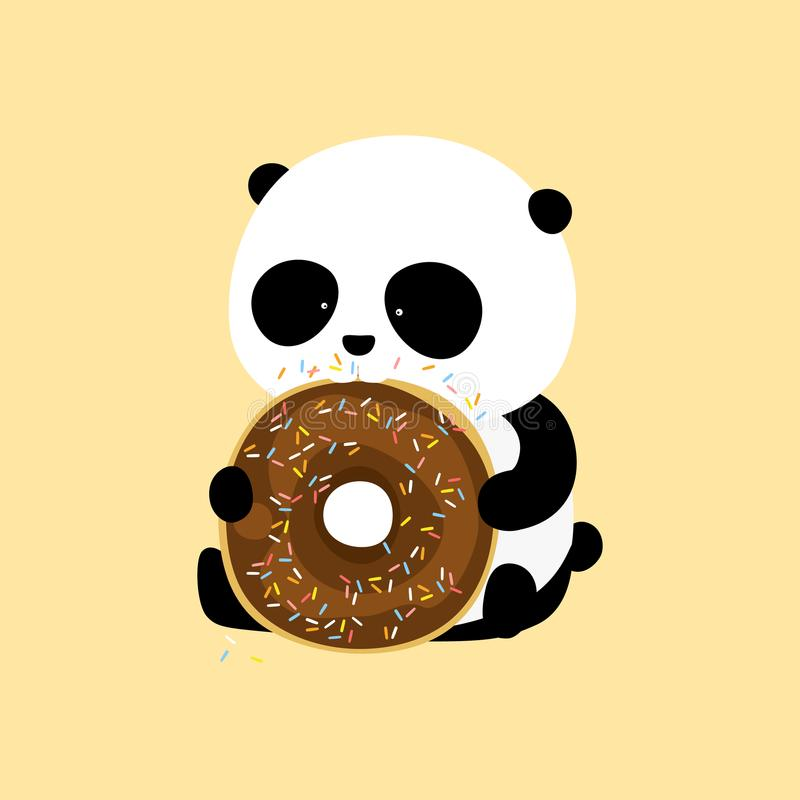 Vector Illustration: A cute cartoon giant panda is sitting on the ground, holding and eating a big chocolate doughnut / donut with. Purple icing and colorful royalty free illustration