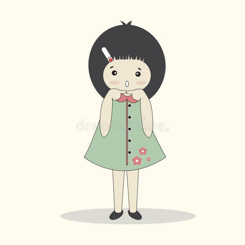 Vector illustration of cute cartoon girl . vector illustration