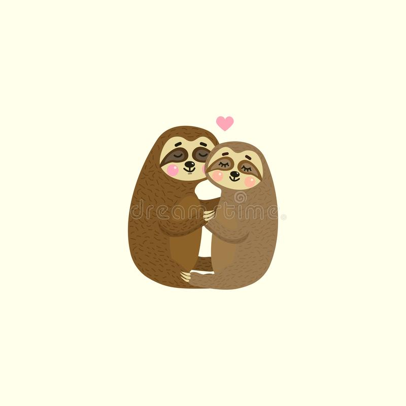 Vector illustration of cute cartoon hanging sloths. Animals n love. Happy Valentine`s day. royalty free illustration