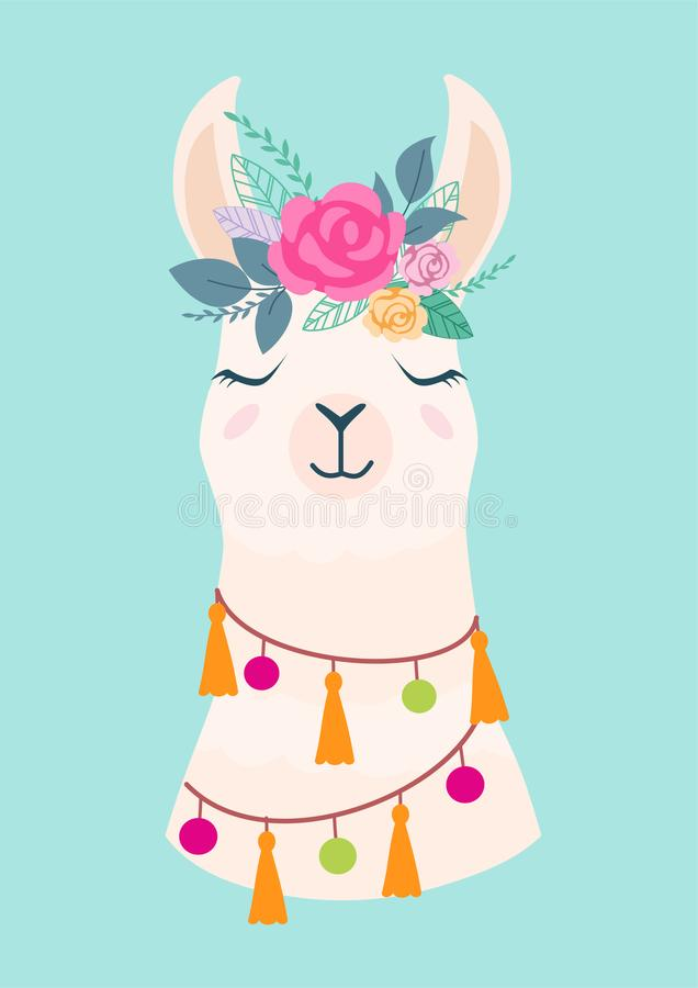 Vector illustration of cute cartoon llama with flowers. Stylish drawing for birthday cards, party invitations, poster and postcard stock illustration