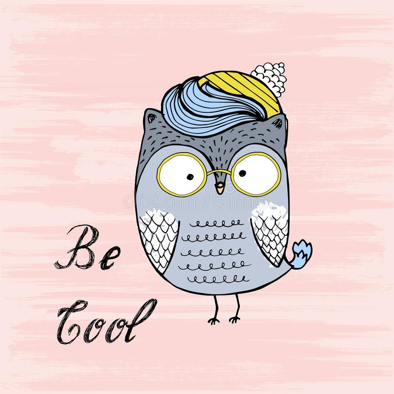 Vector illustration of Cute Cartoon Owl with glasses. Be cool vector illustration
