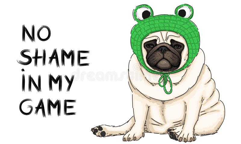 Vector illustration of cute cool pug puppy dog, sitting down with green crochet frog bonnet and text no shame in my game vector illustration
