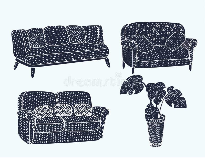 Comfortable black furniture icon set vector illustration