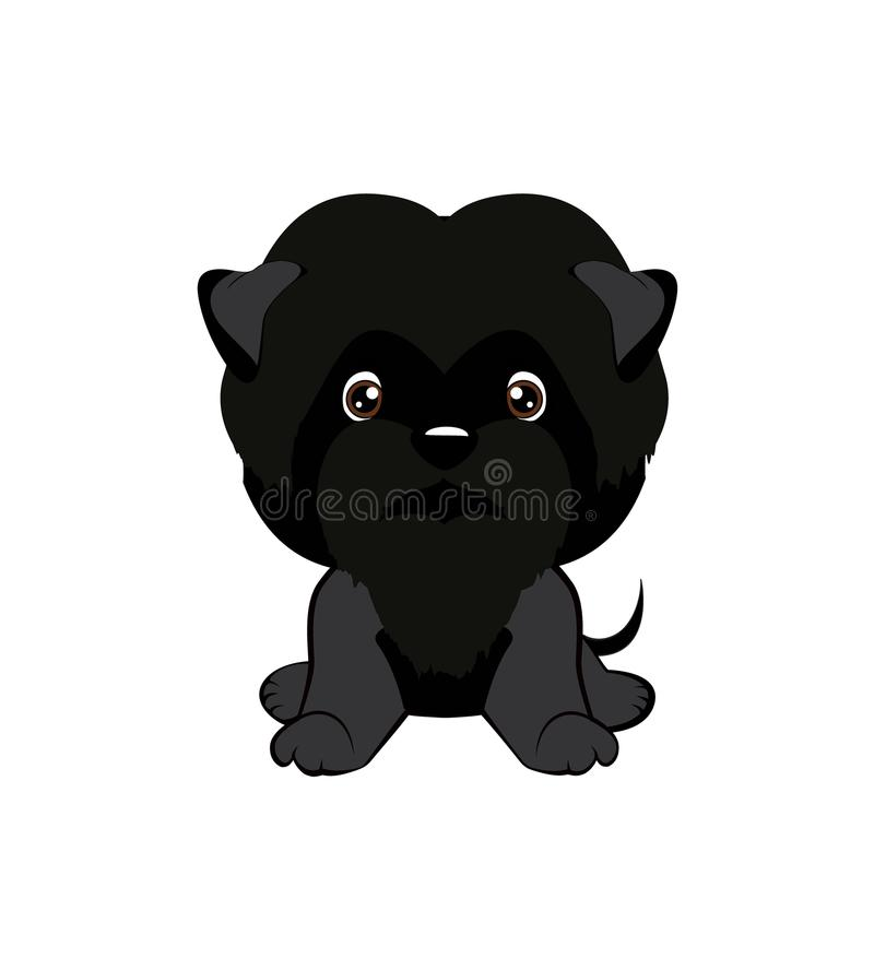 Vector illustration of cute dog in flat style shows sad emotion. Crying emoji. Smiley icon. Chat, communication, print, sticker. I. Solated object on blue royalty free illustration