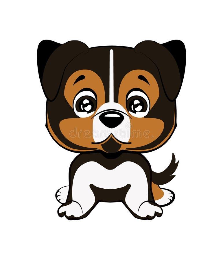 Australian shepherd cartoon. Vector illustration of cute dog in flat style shows sad emotion. Crying emoji. Smiley icon. Chat, com. Vector illustration of cute stock illustration