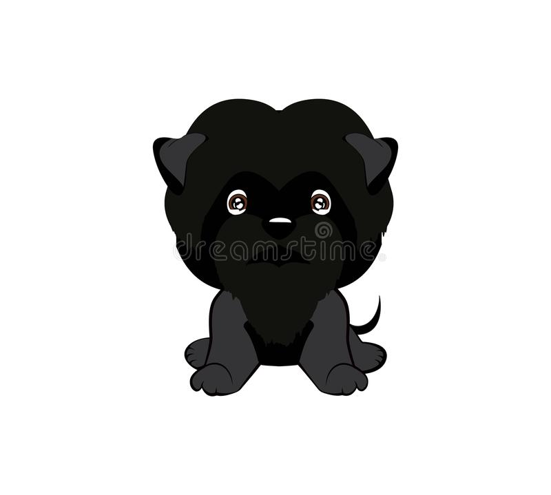Vector illustration of cute dog in flat style shows sad emotion. Crying emoji. Smiley icon. Chat, communication, print. Sticker. Isolated object on blue royalty free illustration