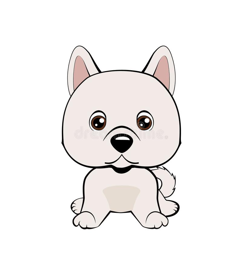 Vector illustration of cute dog in flat style shows sad emotion. Crying emoji. Smiley icon. Chat, communication, print, sticker. I. Solated object on blue vector illustration