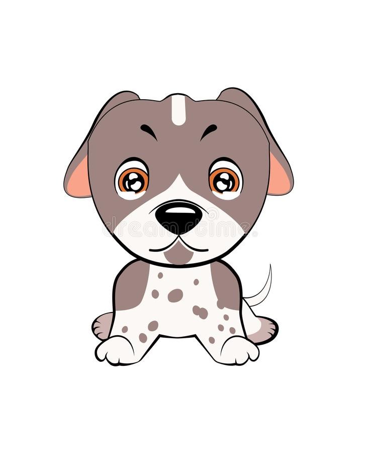 Vector illustration of cute dog in flat style shows sad emotion. Crying emoji. Smiley icon. Chat, communication, print. Sticker. Isolated object on blue stock illustration