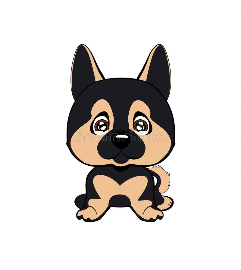 Vector illustration of cute dog in flat style shows sad emotion. Crying emoji. Smiley icon. Chat, communication, print. Sticker. Isolated object on blue vector illustration