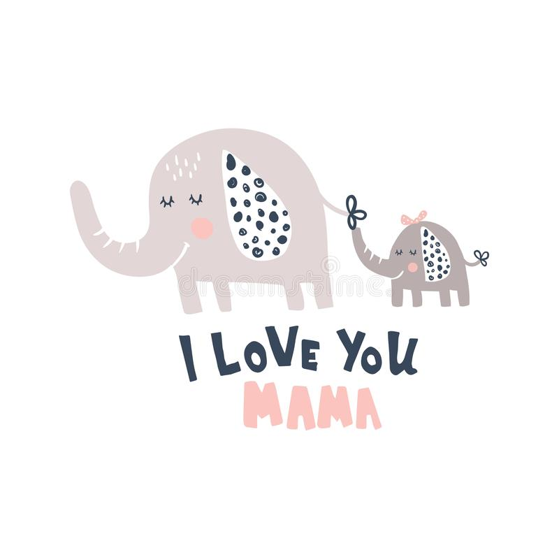 I love you mama. Vector illustration cute elephant and baby, hand lettering i love you mama text stock illustration