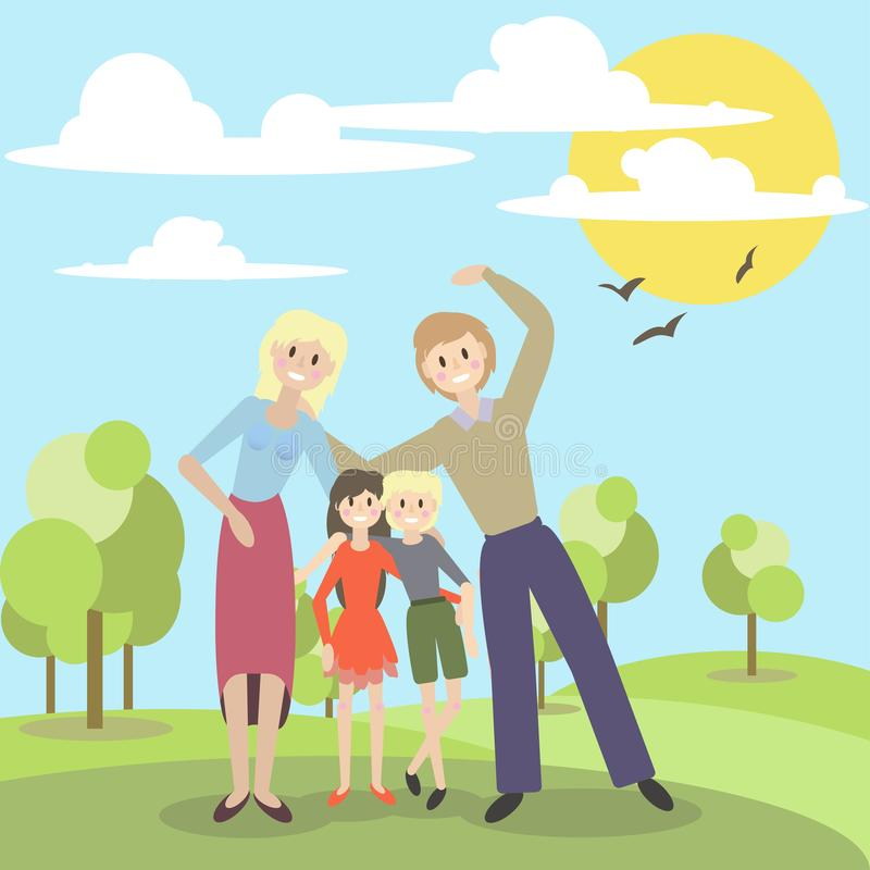 Vector illustration of a cute family on vacation in the Park royalty free stock photo