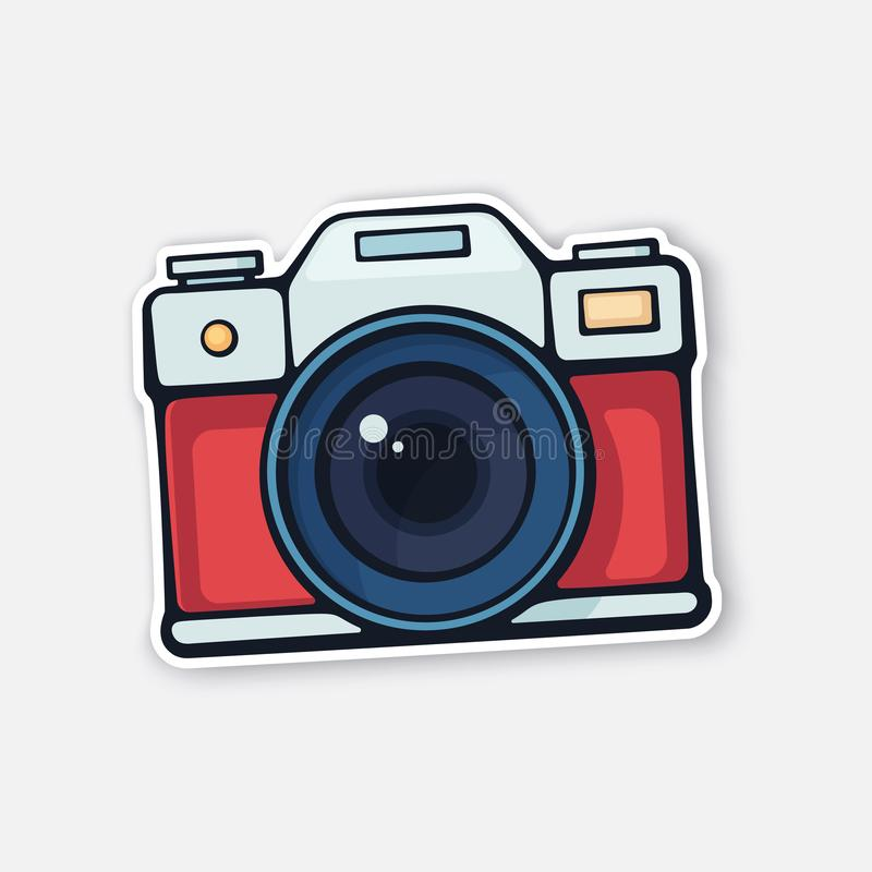 Vector illustration. Cute film retro photo camera. Modern digital device with lens in vintage style royalty free illustration