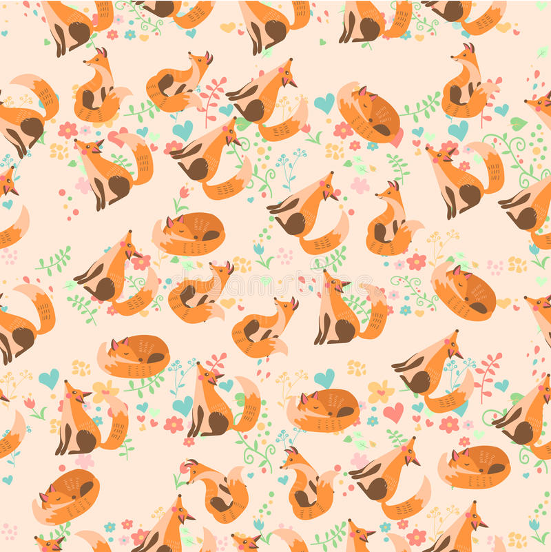 Vector illustration of a cute fox. Very high quality original trendy vector seamless pattern with a cute fox stock illustration