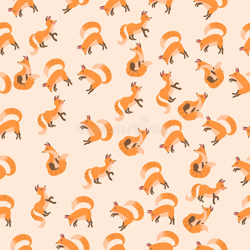 Vector illustration of a cute fox. Very high quality original trendy vector seamless pattern with a cute fox vector illustration