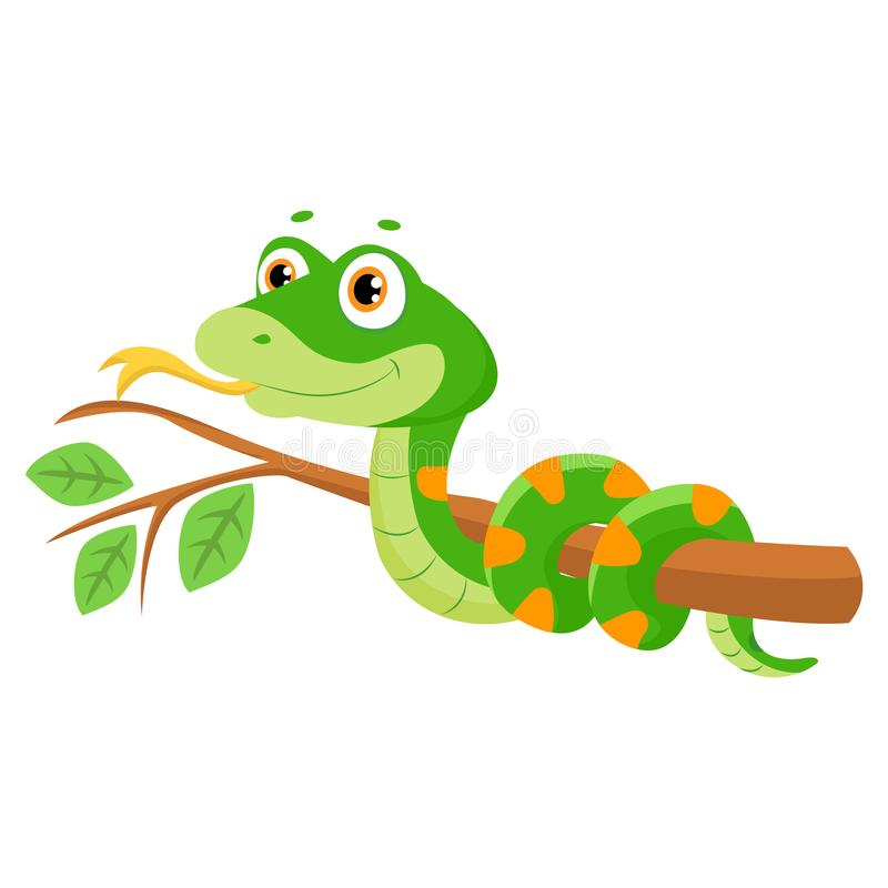 Vector Illustration Of Cute Green Smiles Snake On Branch. Cartoon Vector Reptile Isolated On White Background. Non Venomous Snake vector illustration