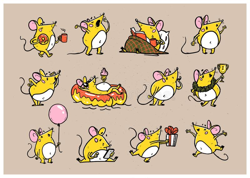 Vector illustration of cute hand drawn yellow mouse character in different situations: jump, read, win, swim, yawn. isolated royalty free illustration