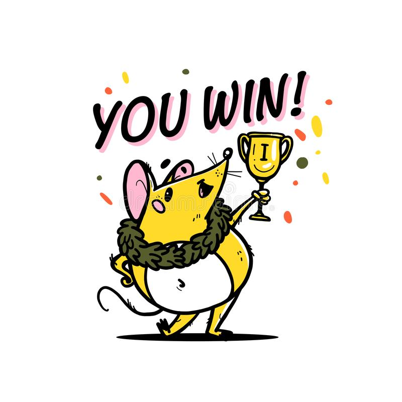 Vector illustration of cute hand drawn yellow mouse character winner holding victory cup isolated on white background royalty free illustration