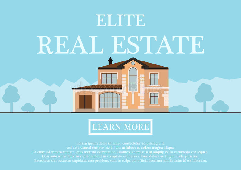 Download Vector Illustration Of Cute Houses For Rent Or Sale In Flat  Building Style. Background