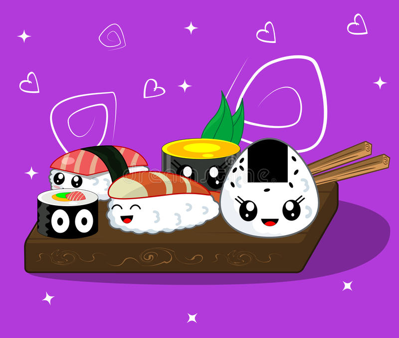 Vector illustration of cute kawaii cartoon rolls and sushi royalty free illustration
