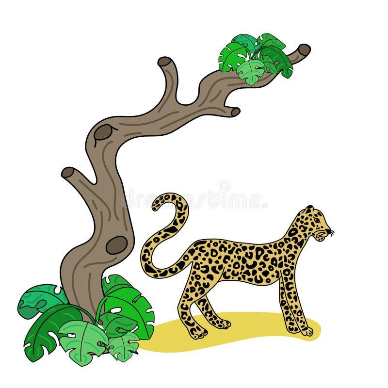 Vector illustration of leopard royalty free illustration