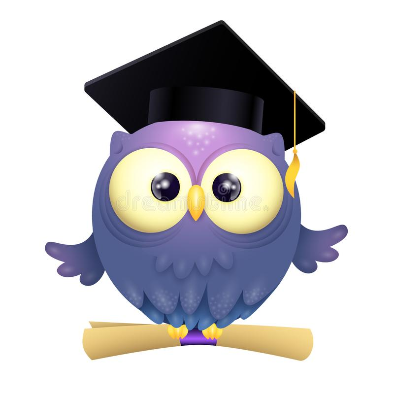 Vector Illustration of a cute lillte Owl wearing graduation cap and holding diploma while flying stock illustration