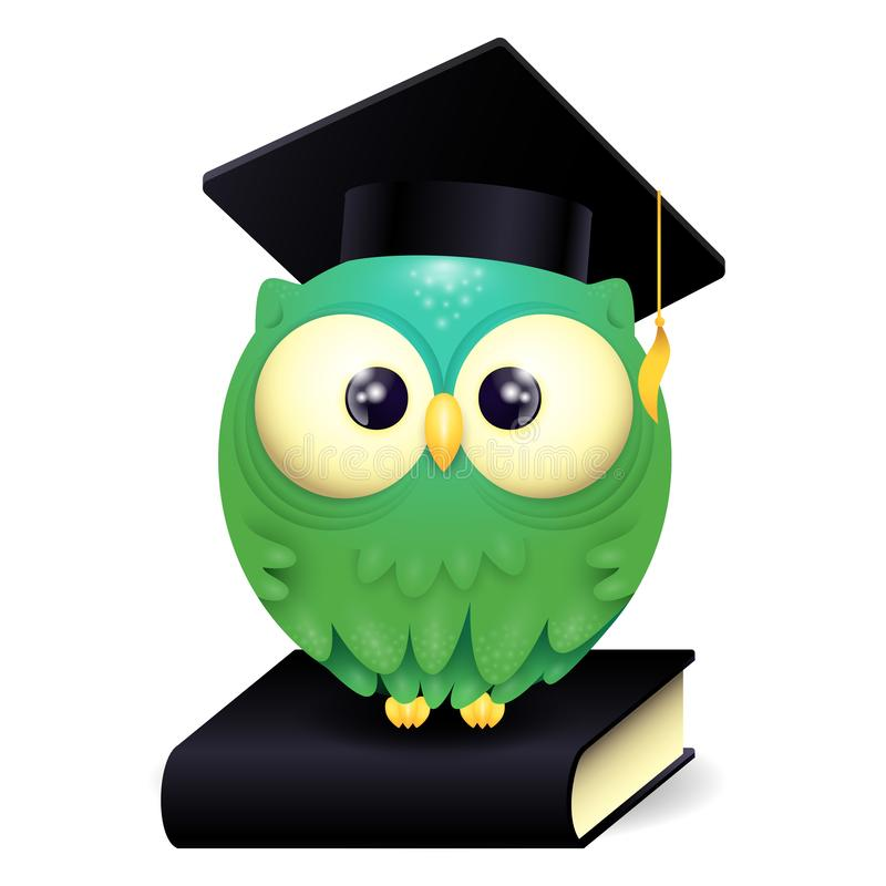 Vector Illustration of a cute lillte Owl wearing graduation cap and sitting on a black book stock illustration