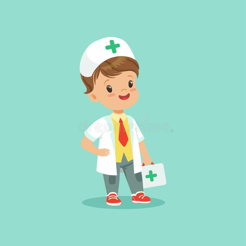 Vector illustration of cute little doctor standing with medical suitcase in hand. Boy character dressed in white coat. Hat, shirt, jeans, tie and sneakers vector illustration