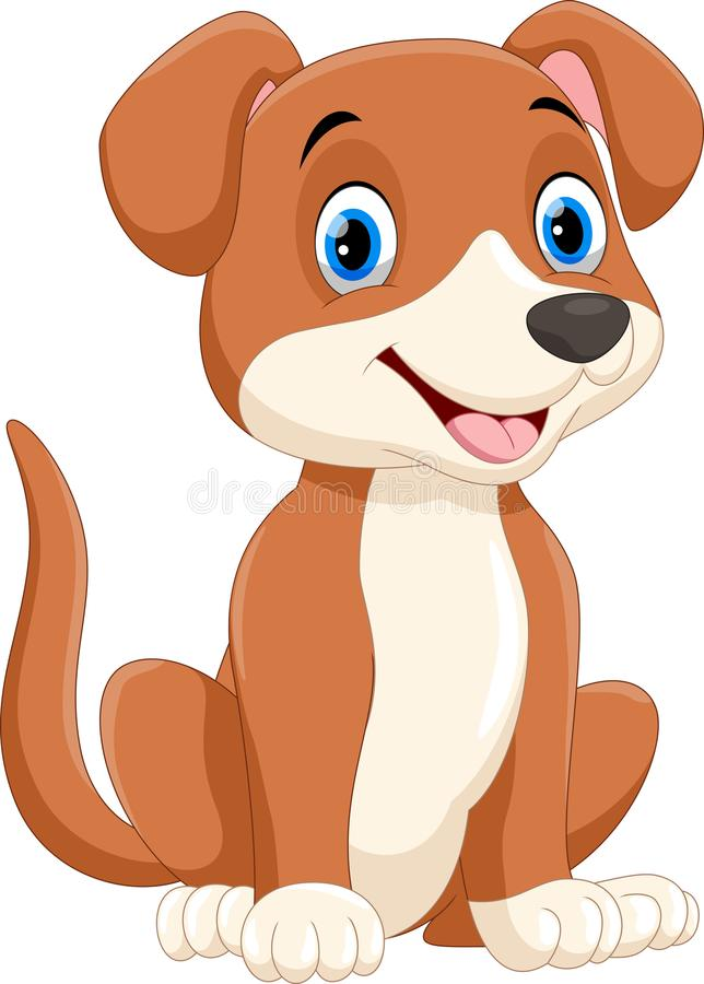 Vector illustration of cute little dog cartoon sitting. Isolated on white background royalty free illustration