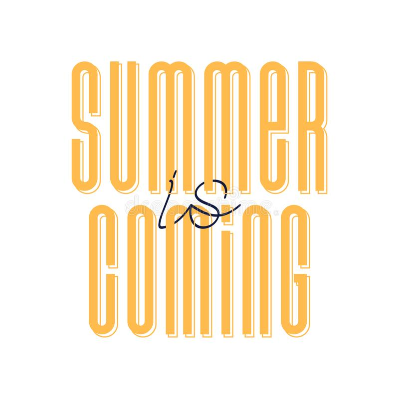 Vector illustration of cute orange cartoon lettering summer is coming, hand drawn imitation, strong font, fashion print for t. Shirt or pajamas for girl and stock illustration