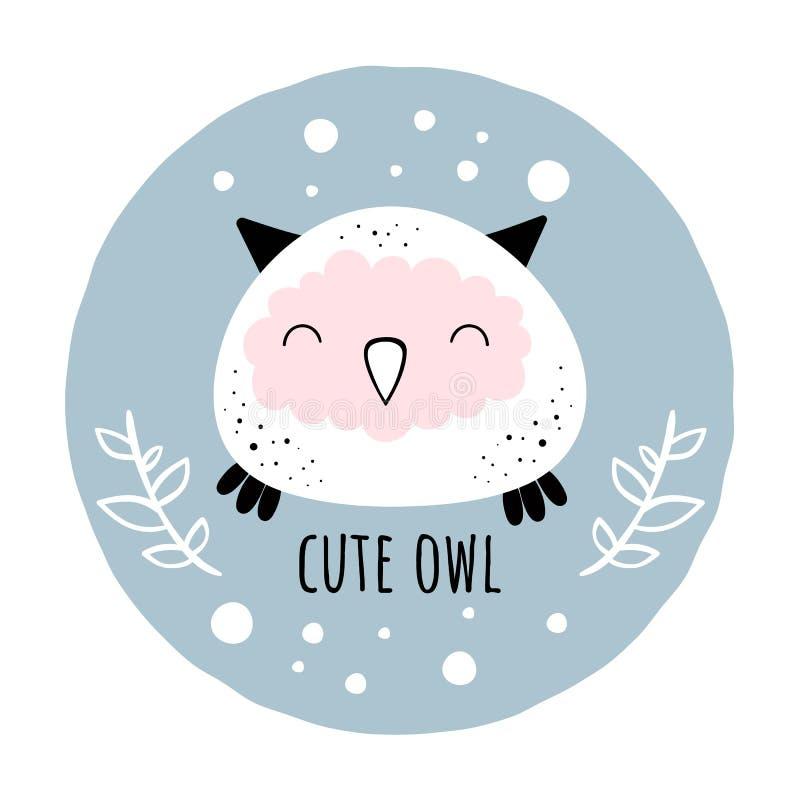 Vector illustration of Cute owl.Scandinavian motives. Cartoon background. royalty free illustration