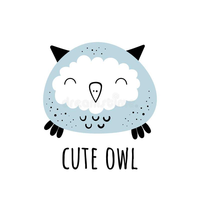 Vector illustration of Cute owl.Scandinavian motives. Cartoon background. vector illustration