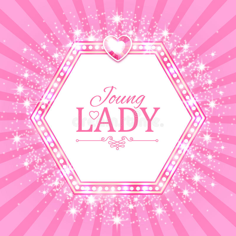 Vector illustration. Cute Pink Banner for Princess, Glamour and Baby Girl Design. Shining Retro on Burst Background. royalty free illustration