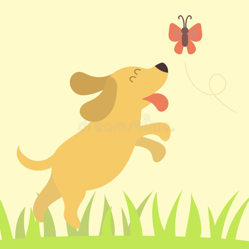 Vector illustration cute playing dog character funny purebred puppy comic happy mammal breed royalty free illustration