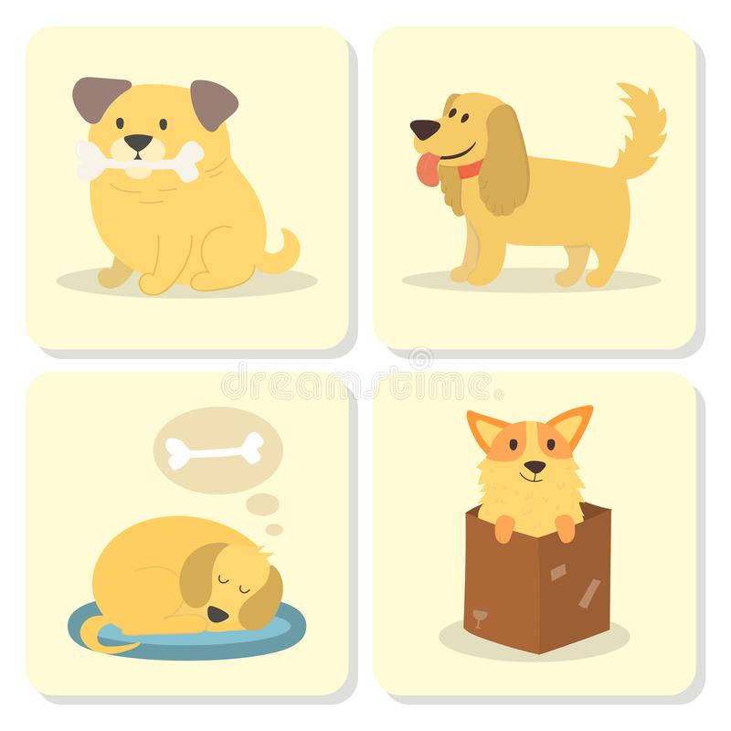 Vector illustration cute playing dogs characters funny purebred puppy comic happy mammal breed cards vector illustration