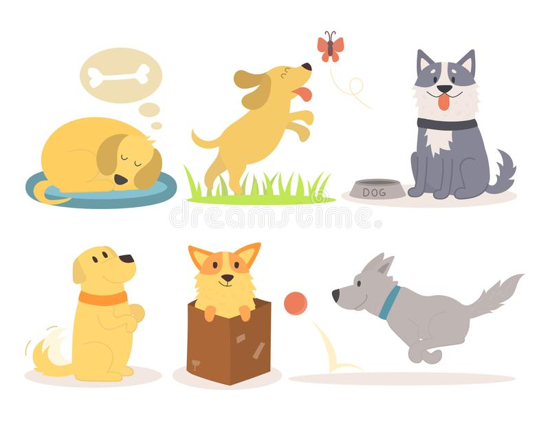 Vector illustration cute playing dogs characters funny purebred puppy comic happy mammal breed vector illustration