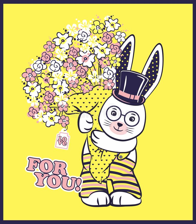 Vector illustration of cute rabbit with cylinder hat, big bouquet of spring flowers and lettering - for you. Cartoon character on bright yellow background vector illustration
