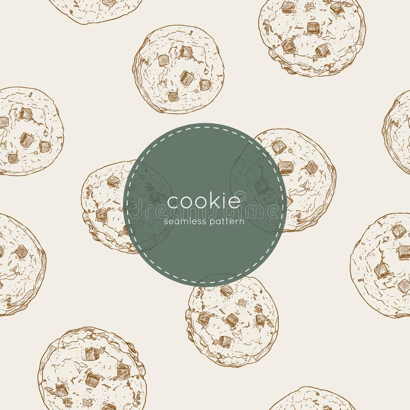 Chocolate chip cookie., seamless pattern vector. stock illustration