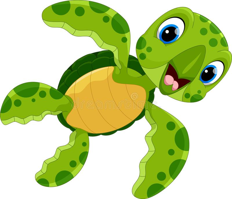 Vector illustration of cute turtle cartoon. Isolated on white background royalty free illustration