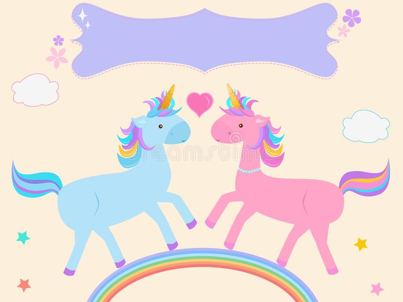Vector illustration of cute Unicorn couple cartoon in pink blue. On pastel rainbow with blank tag on yellow background stock illustration