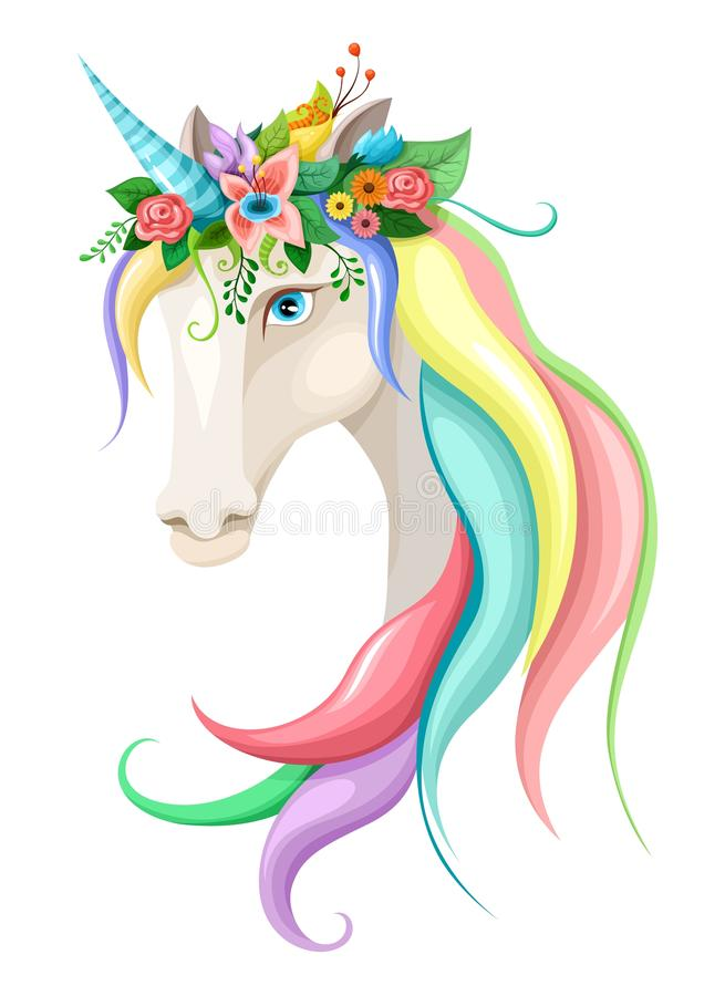 Vector illustration with a cute unicorn vector illustration
