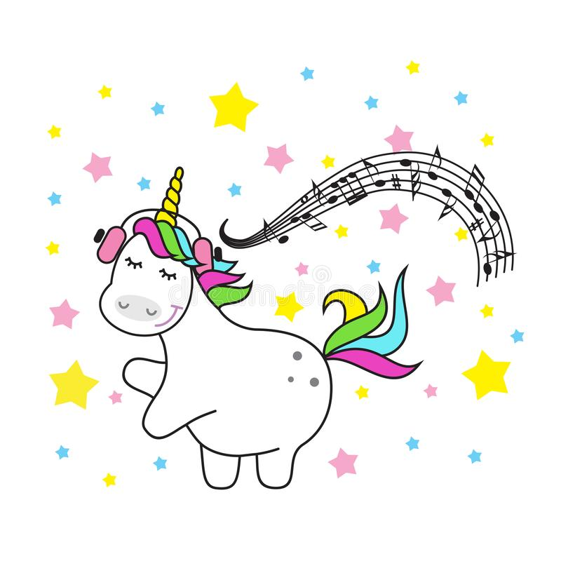 Download Magic Cute Unicorn Stars And Rainbow. Poster Greeting Card  Illustration With Outline. Stock