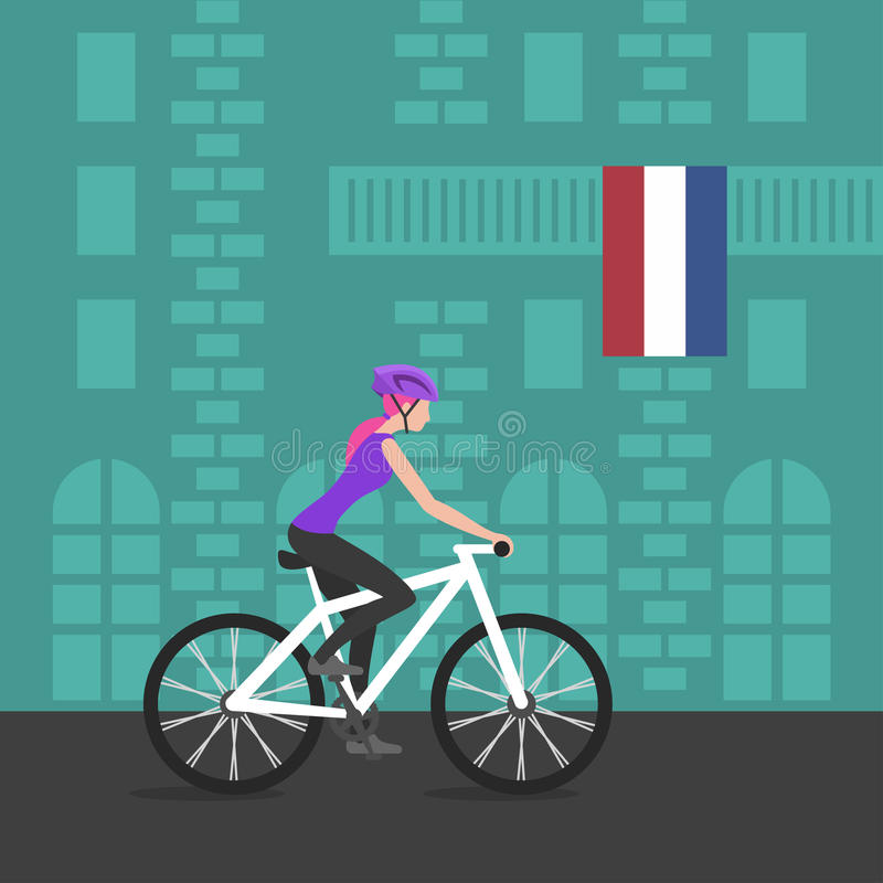 Vector illustration of cyclist girl on bike in Netherlands. Vector illustration of cyclist girl on bike that rides through the city; biker and bicycling; sport vector illustration
