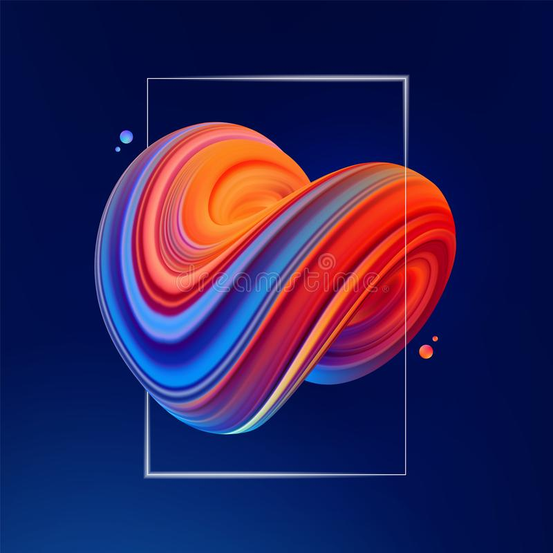 Vector illustration: 3D Blue and red colored abstract twisted fluide shape on dark background. Trendy liquid design vector illustration