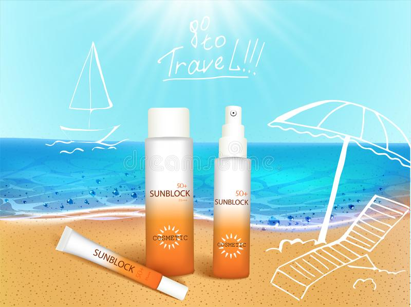 Vector illustration. 3d bottles with sun protection cosmetic products on tropic beach with hand draw doodle element stock illustration