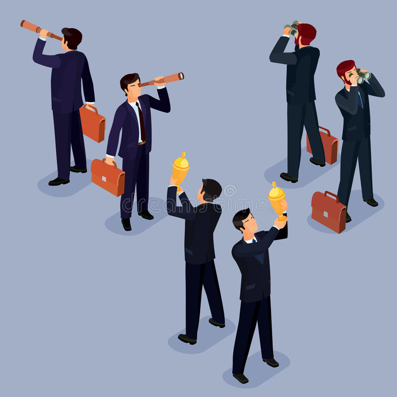 Vector illustration of 3D flat isometric people. The concept of a business leader, lead manager, CEO. Boss, his vision and personal success stock illustration