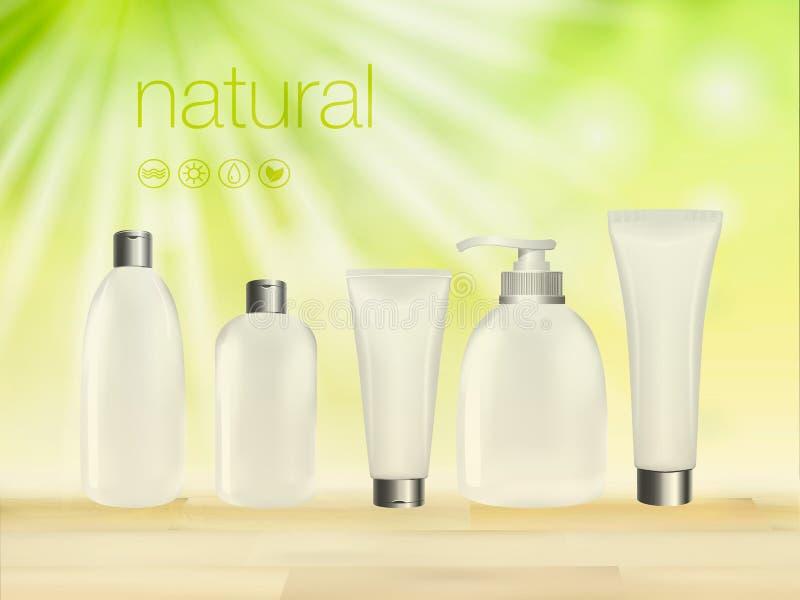 Vector Illustration 3D mit grünem kosmetischem leerem Sahnepaket der Produktanzeigen, der Make-upschablone, der Haut und der Körp vektor abbildung
