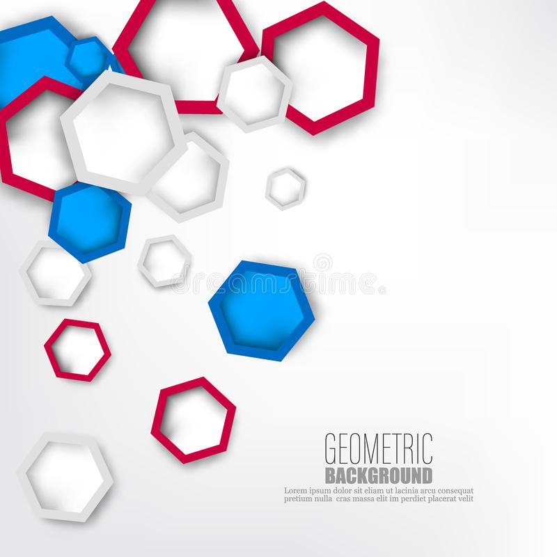 Vector illustration 3d paper hexagons background. Hi-tech digital technology and engineering concept. Vector abstract vector illustration